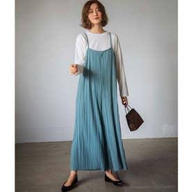 【WEB限定】プリーツワイドサロペット&Tシャツセット (ブルー)