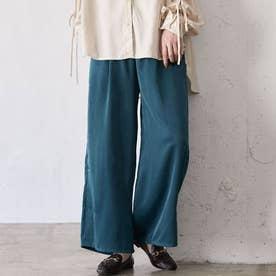 【WEB限定】カラーサテンパンツ (グリーン)