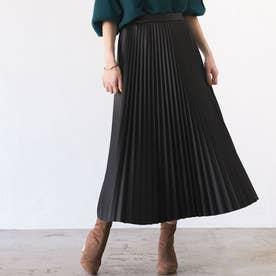 【WEB限定】エコレザープリーツスカート (ブラック)