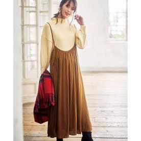 ギャザードレープジャンパースカート (キャメルブラウン)