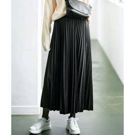 スエードライクプリーツスカート (ブラック)