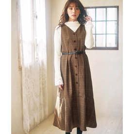 裾フレアーロングジャンパースカート (茶系チェック柄)