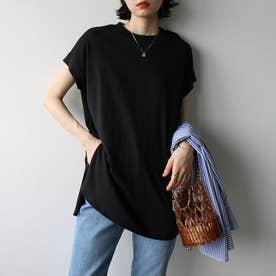 綿100%フレンチスリーブチュニックTシャツャツ (ブラック)
