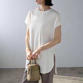 綿100%フレンチスリーブチュニックTシャツ (オフホワイト)