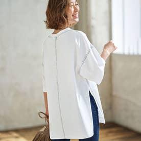 綿100%ビッグシルエットステッチTシャツ (ホワイト)