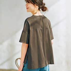 綿100%バックジップTシャツ (カーキ)