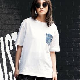 デニムポケットバックねじりTシャツ (オフホワイト)