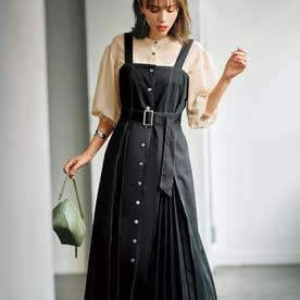 配色ステッチジャンパースカート (ブラック)