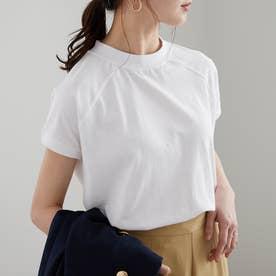 綿100%プチハイネックラグランTシャツ (オフホワイト)