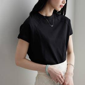 綿100%プチハイネックラグランTシャツ (ブラック)