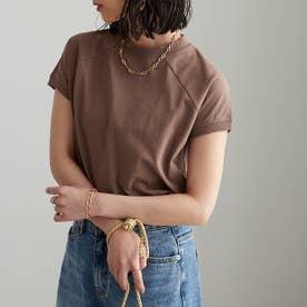 綿100%プチハイネックラグランTシャツ (モカブラウン)