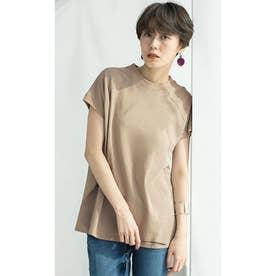 綿100%プチハイネックラグランTシャツ (ベージュ)