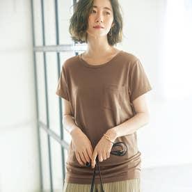 裾ギャザー美ラインクルーネックTシャツ (モカ)