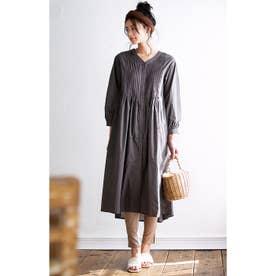 綿100%ピンタックデザインロングシャツ (チャコールグレー)