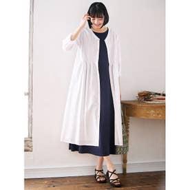 綿100%ピンタックデザインロングシャツ (オフホワイト)