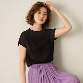 綿100%フレンチスリーブTシャツ (ブラック)