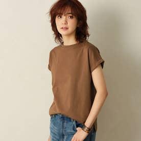 綿100%フレンチスリーブTシャツ (ブラウン)