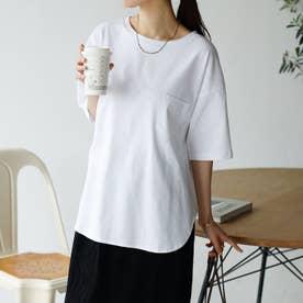 綿100%ラウンドヘムビッグTシャツ (オフホワイト)