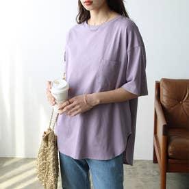 綿100%ラウンドヘムビッグTシャツ (ライトパープル)