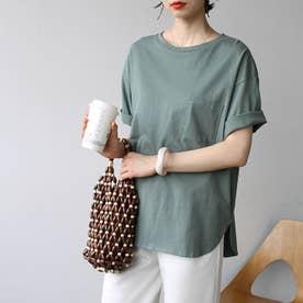 綿100%ラウンドヘムビッグTシャツ (グリーン)