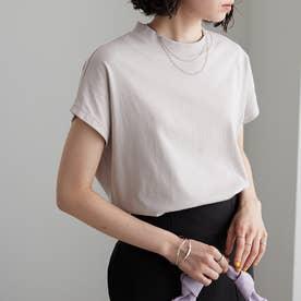 綿100%プチハイネックTシャツ (グレージュ)