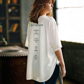 プリントチュニックTシャツ (バックメッセージホワイト)