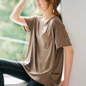 ジップポケットサイドタックゆるTシャツ (モカ)