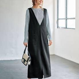 Vネックロングジャンパースカート (ブラック)