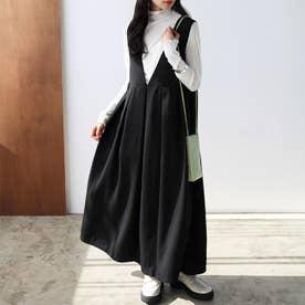 2WAYロングジャンパースカート (ブラック)
