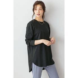 選べる裾デザイン!綿100%吸湿発熱Tシャツ (ラウンド黒)