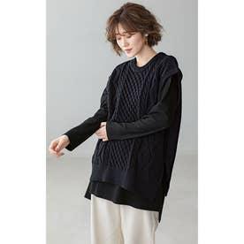 選べる裾デザイン!綿100%吸湿発熱Tシャツ (スクエア黒)