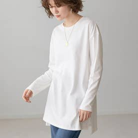 選べる裾デザイン!綿100%吸湿発熱Tシャツ (スクエアオフ白)