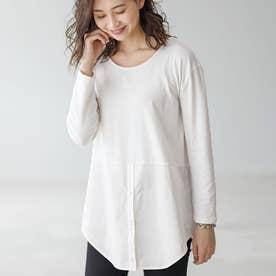 選べる裾デザイン!綿混吸湿発熱インナー (オフ白/シャツ)
