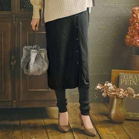 裾くしゅレギンス付ニットスカート (ブラック)
