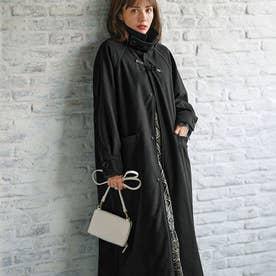 2WAY衿デザインロングコート (ブラック)