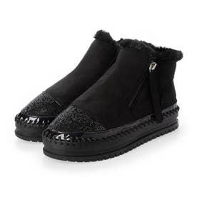 キラキラトゥムートン調ブーツ (ブラック)