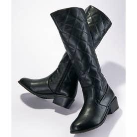 キルティングデザインロングブーツ (ブラック)