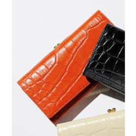 本革クロコ型押し口金式長財布 (オレンジ)