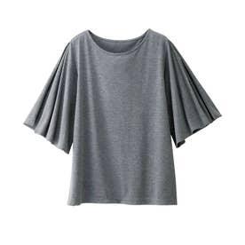 UVカットひんやり袖スリットカットソー (チャコール)