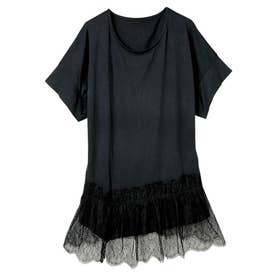 裾レースアシメTシャツ (ブラック)