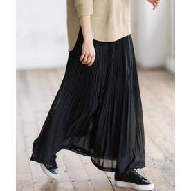 シフォンプリーツマキシスカート (ブラック)