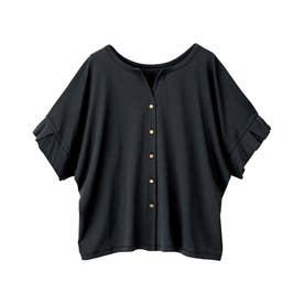 綿100%袖タックブラウス風カットソー (ブラック)