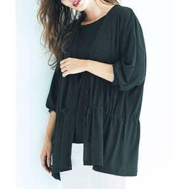 【2点セット】ドライタッチカーデ&Tシャツ (ブラック)