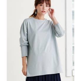 快適な服〈37.5〉サイドスリトカットソ (ライトブルー)