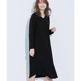ポコポコジャカード裾ラウンドワンピース (ブラック)
