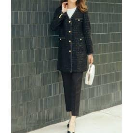 ファンシーツイード調コートアップパンツスーツ (ブラック)