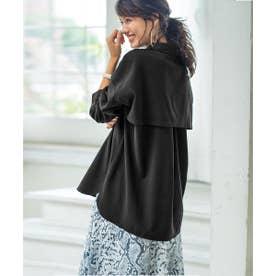 トレンチ風デザインゆるシャツ (ブラック)