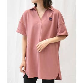 〈FILA〉鹿の子チュニックポロシャツ (コーラルピンク)