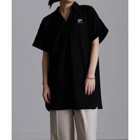 〈FILA〉鹿の子チュニックポロシャツ (ブラック)