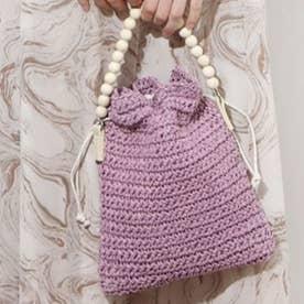 【5色展開】【2WAY】ウッドハンドル巾着ショルダーバッグ(1R18-KB03) (ピンク)